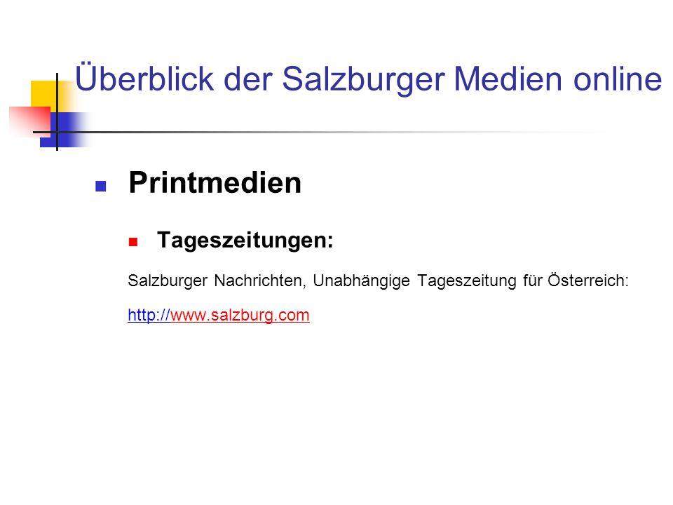 Überblick der Salzburger Medien online