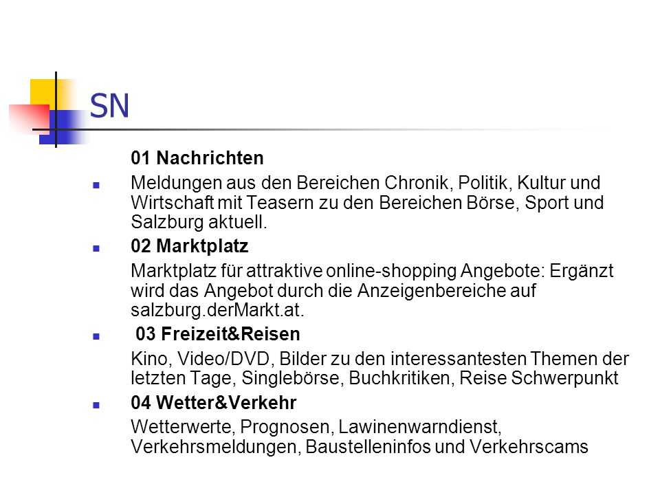 SN 01 Nachrichten.