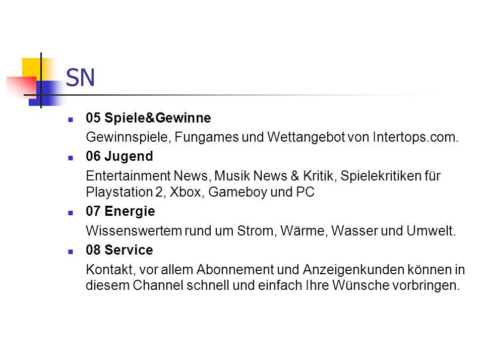 SN 05 Spiele&Gewinne. Gewinnspiele, Fungames und Wettangebot von Intertops.com. 06 Jugend.