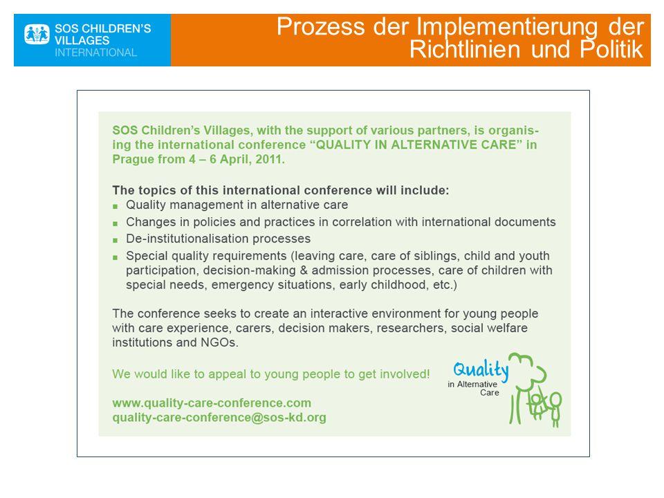 Prozess der Implementierung der Richtlinien und Politik