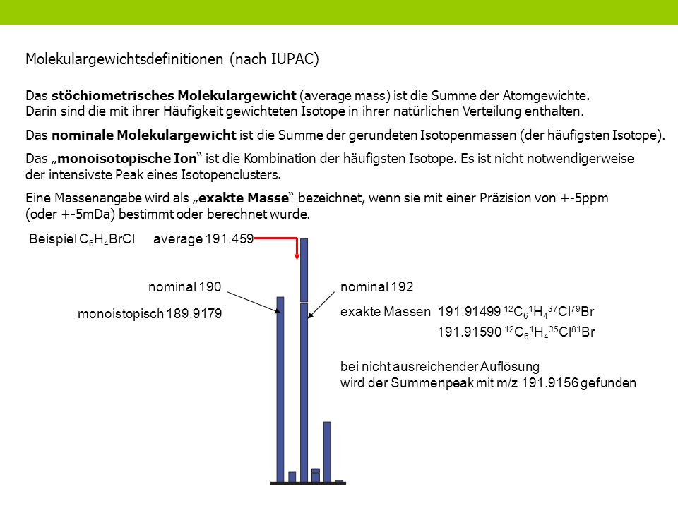 Molekulargewichtsdefinitionen (nach IUPAC)