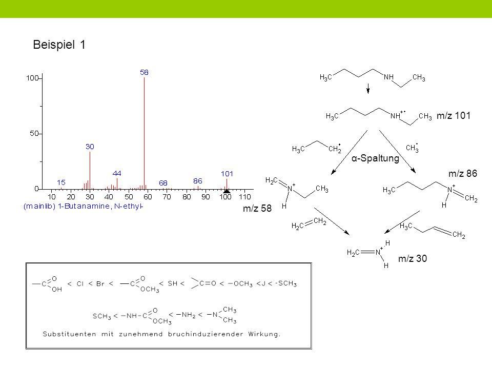 Beispiel 1 m/z 101 α-Spaltung m/z 86 m/z 58 m/z 30