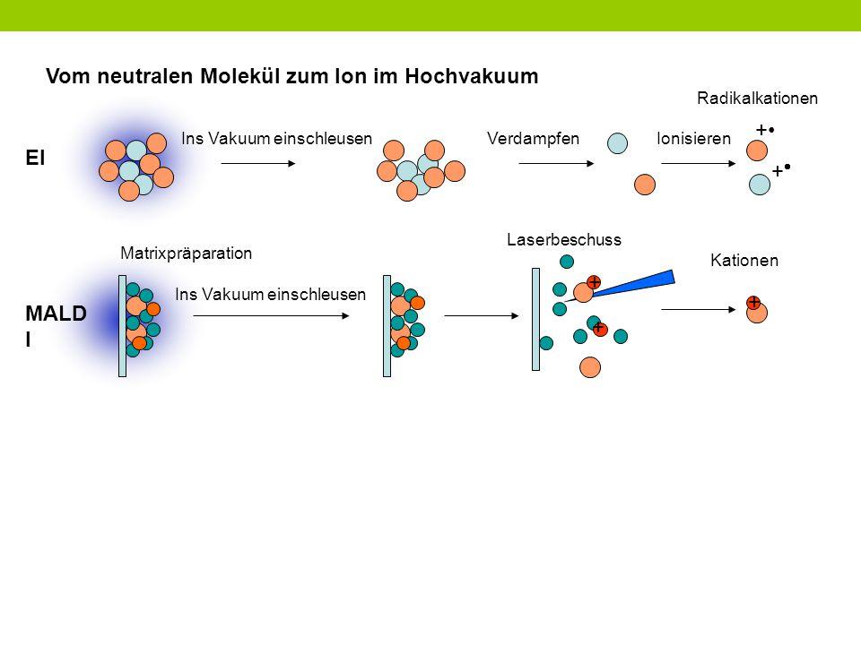 Vom neutralen Molekül zum Ion im Hochvakuum