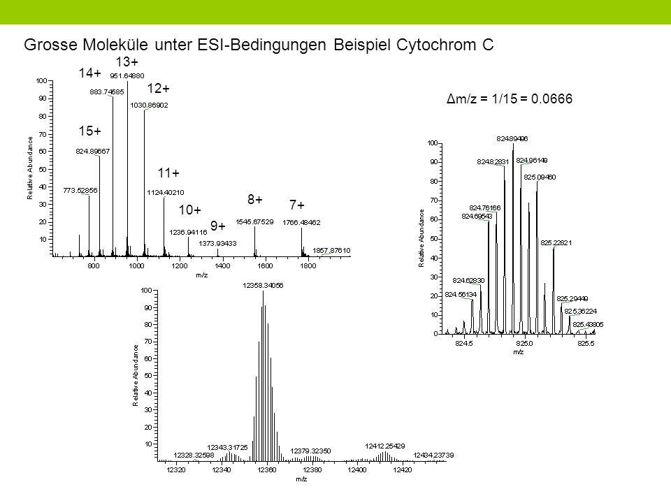 Grosse Moleküle unter ESI-Bedingungen Beispiel Cytochrom C
