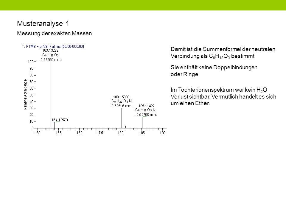 Musteranalyse 1 Messung der exakten Massen