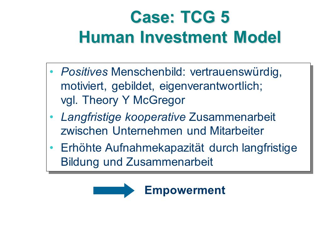 Case: TCG 5 Human Investment Model