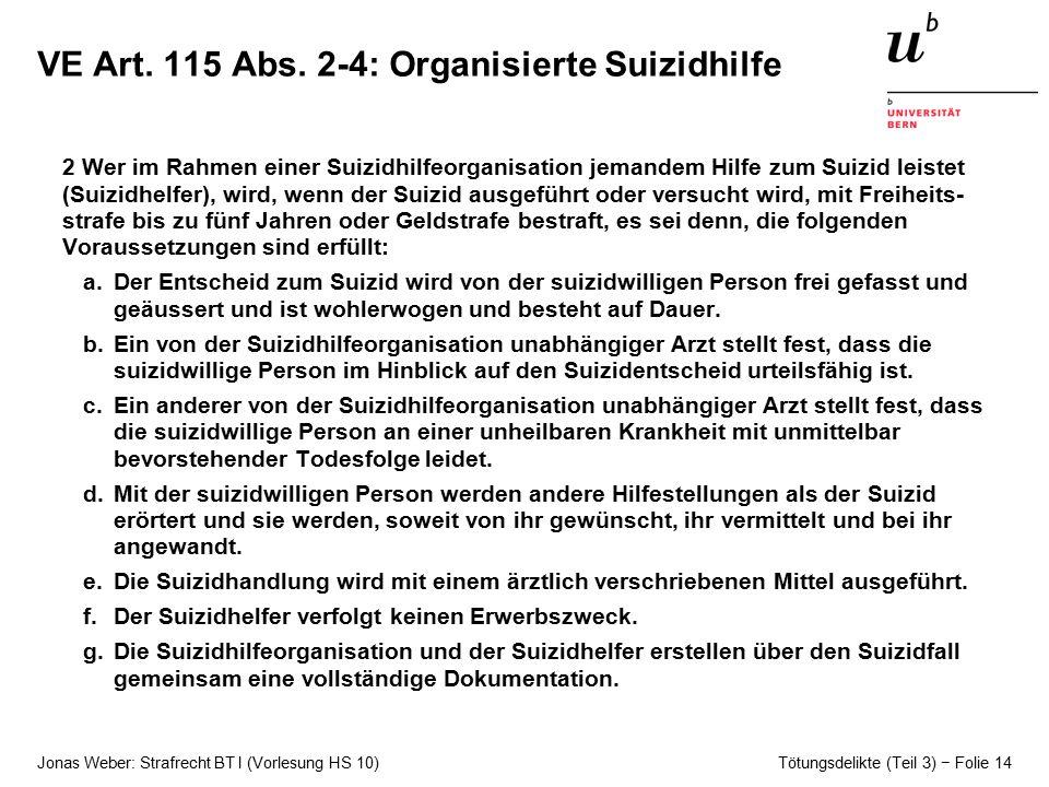VE Art. 115 Abs. 2-4: Organisierte Suizidhilfe