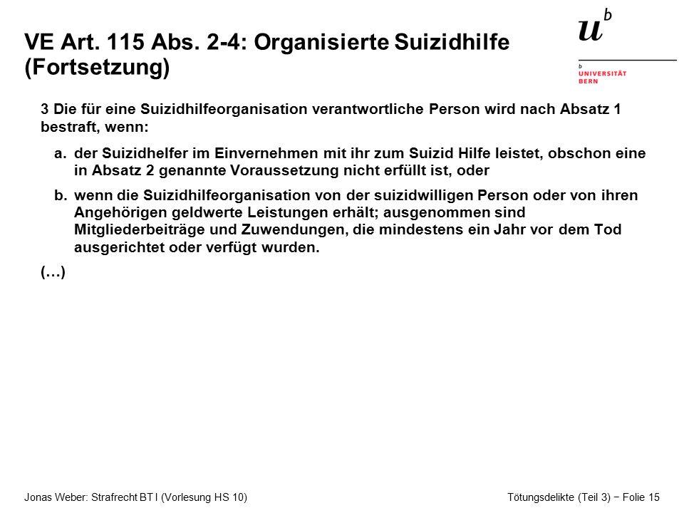 VE Art. 115 Abs. 2-4: Organisierte Suizidhilfe (Fortsetzung)