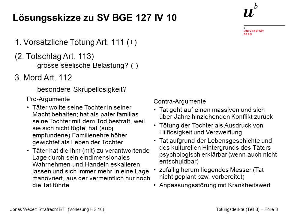 Lösungsskizze zu SV BGE 127 IV 10