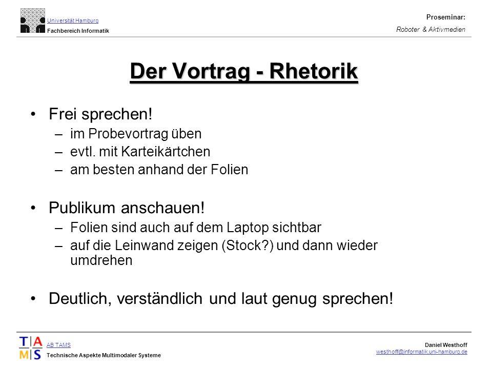 Der Vortrag - Rhetorik Frei sprechen! Publikum anschauen!