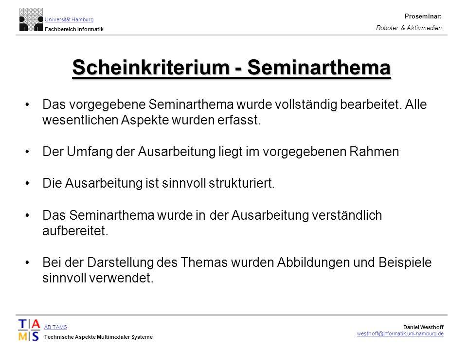 Scheinkriterium - Seminarthema
