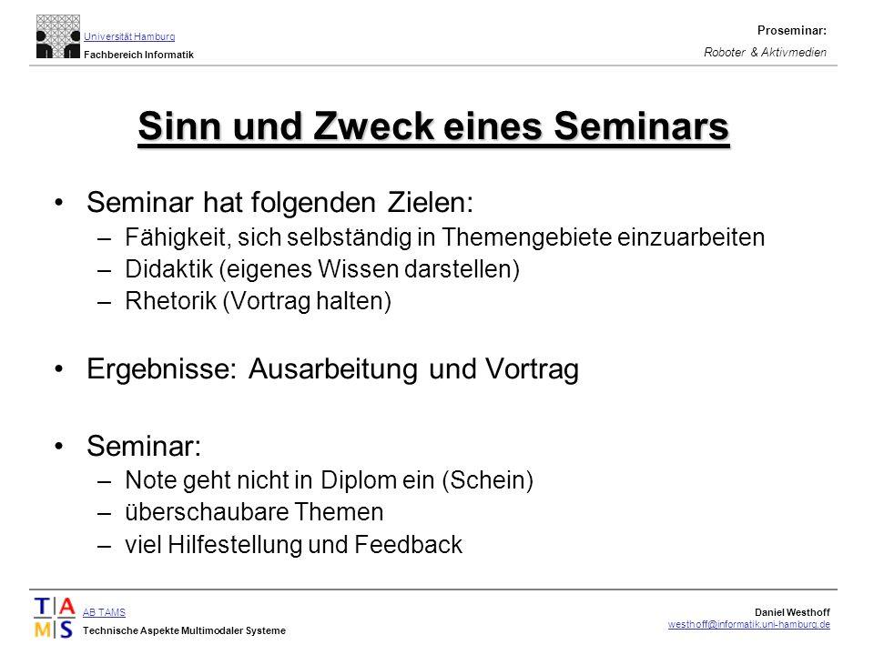 Sinn und Zweck eines Seminars
