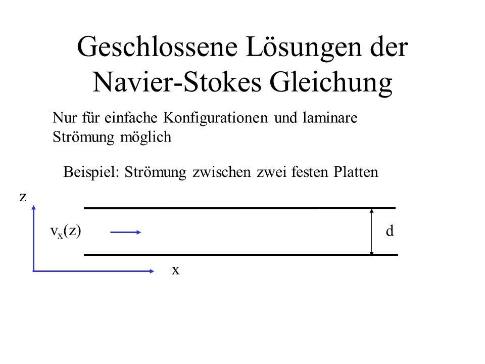 Geschlossene Lösungen der Navier-Stokes Gleichung
