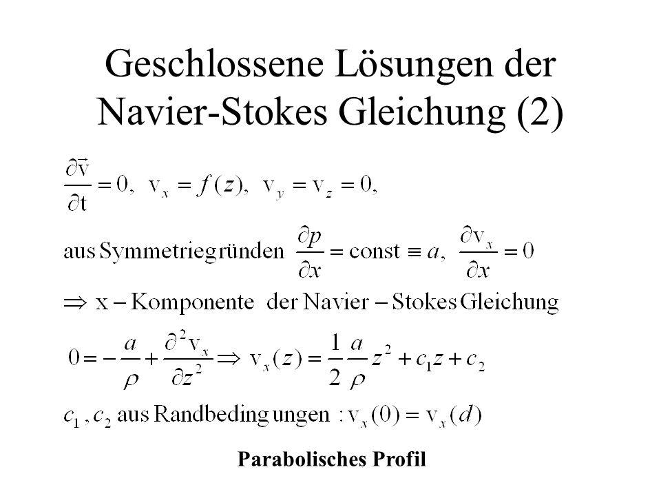Geschlossene Lösungen der Navier-Stokes Gleichung (2)