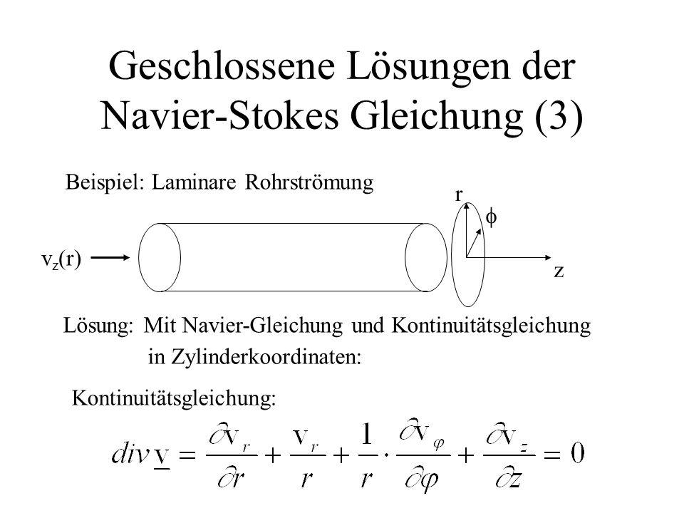 Geschlossene Lösungen der Navier-Stokes Gleichung (3)
