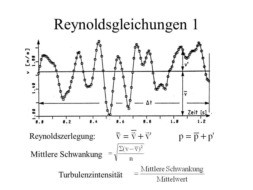 Reynoldsgleichungen 1 Reynoldszerlegung: Mittlere Schwankung
