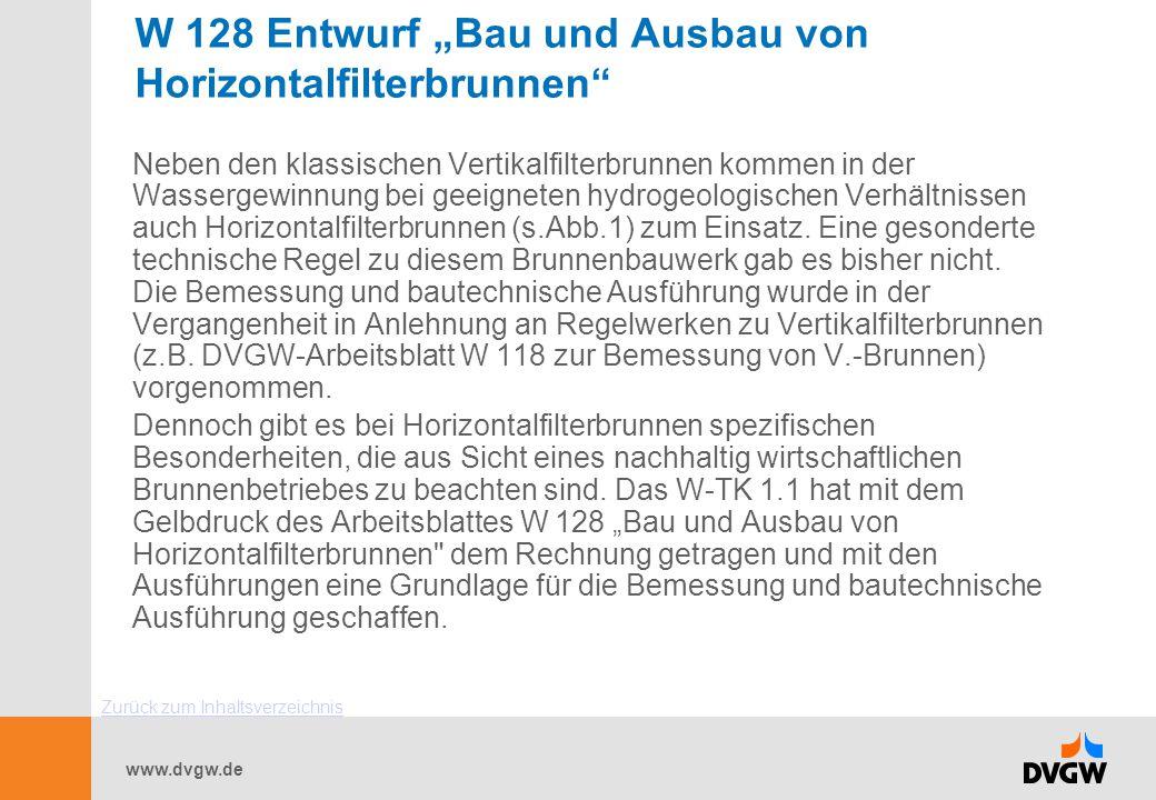 """W 128 Entwurf """"Bau und Ausbau von Horizontalfilterbrunnen"""