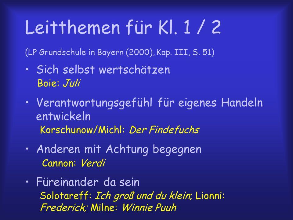 Leitthemen für Kl. 1 / 2 (LP Grundschule in Bayern (2000), Kap. III, S