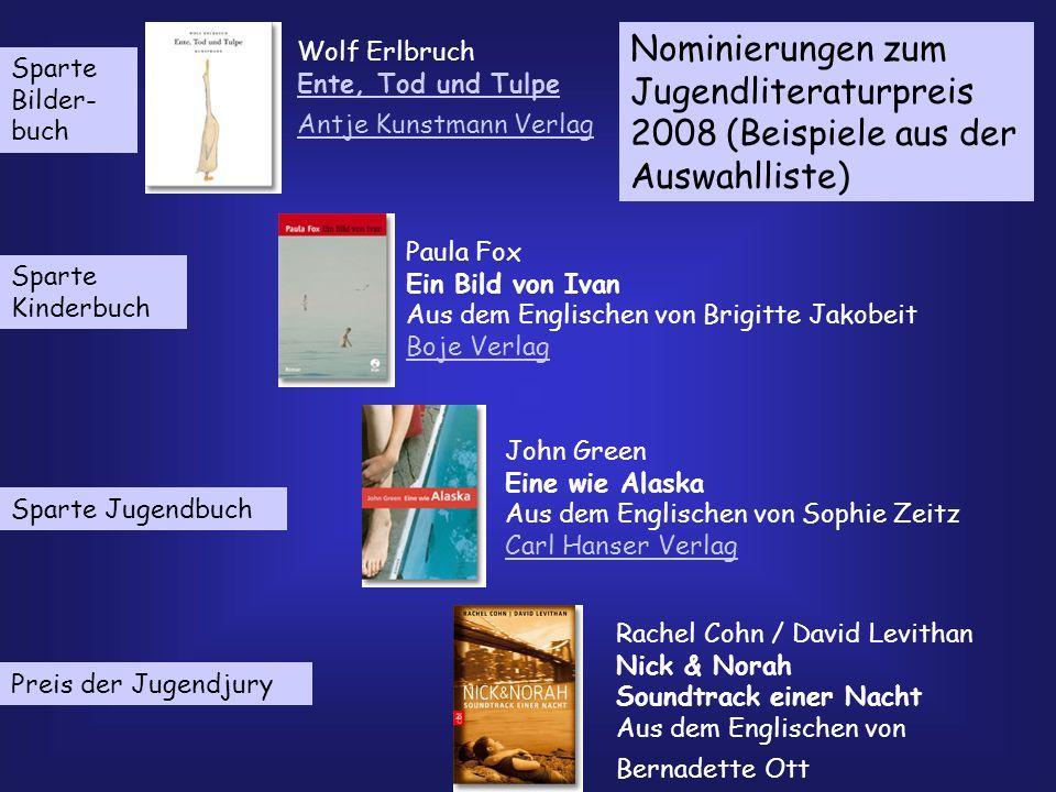 Nominierungen zum Jugendliteraturpreis 2008 (Beispiele aus der Auswahlliste)