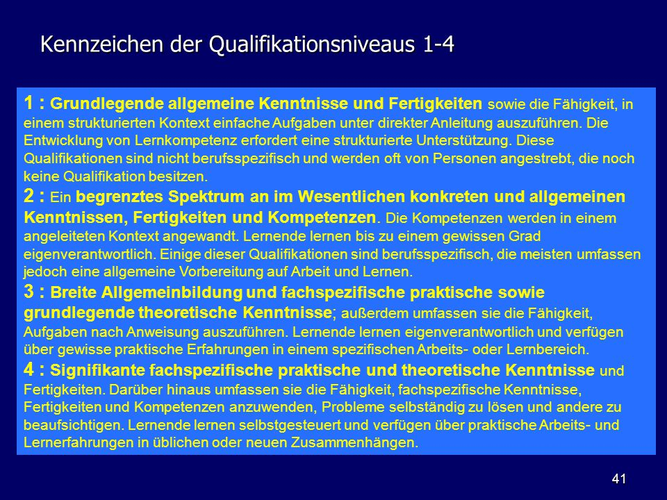 Kennzeichen der Qualifikationsniveaus 1-4