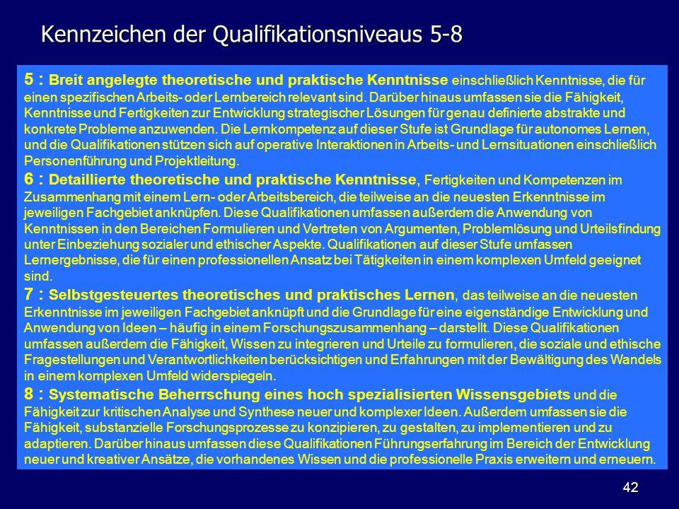 Kennzeichen der Qualifikationsniveaus 5-8