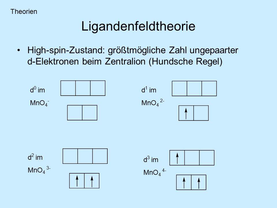 Theorien Ligandenfeldtheorie. High-spin-Zustand: größtmögliche Zahl ungepaarter d-Elektronen beim Zentralion (Hundsche Regel)