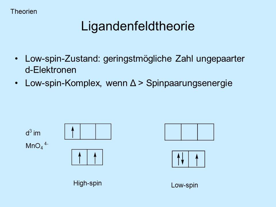 Theorien Ligandenfeldtheorie. Low-spin-Zustand: geringstmögliche Zahl ungepaarter d-Elektronen. Low-spin-Komplex, wenn Δ > Spinpaarungsenergie.