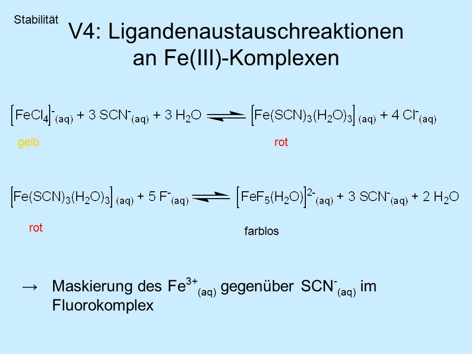 V4: Ligandenaustauschreaktionen an Fe(III)-Komplexen