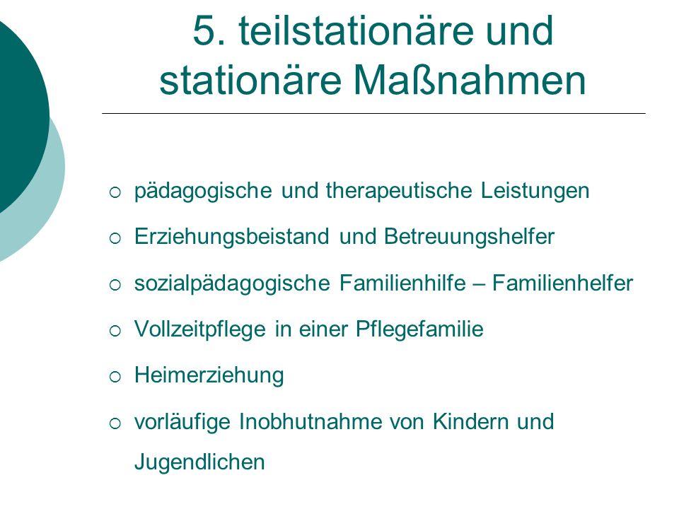 5. teilstationäre und stationäre Maßnahmen