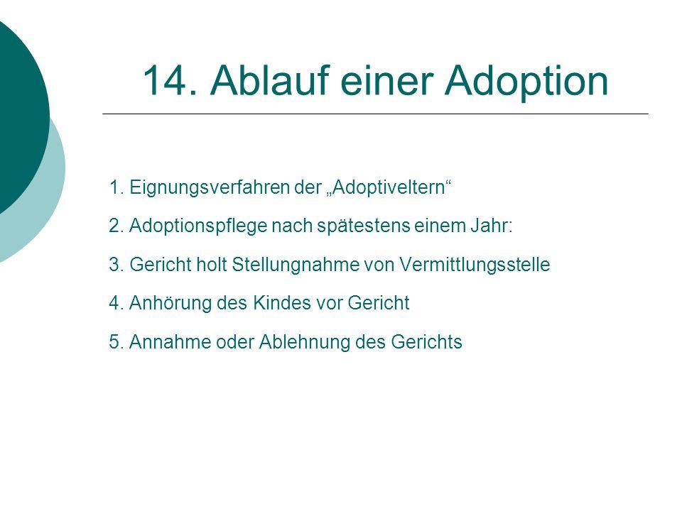 """14. Ablauf einer Adoption 1. Eignungsverfahren der """"Adoptiveltern"""