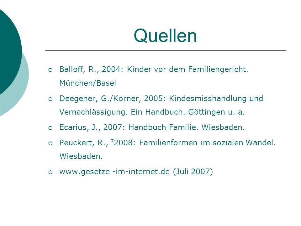 Quellen Balloff, R., 2004: Kinder vor dem Familiengericht. München/Basel.