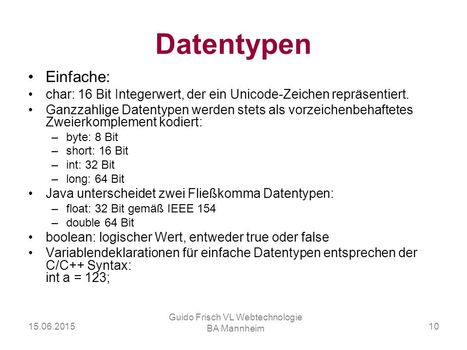 Guido Frisch VL Webtechnologie BA Mannheim