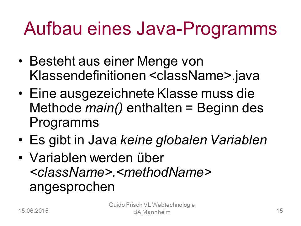 Aufbau eines Java-Programms
