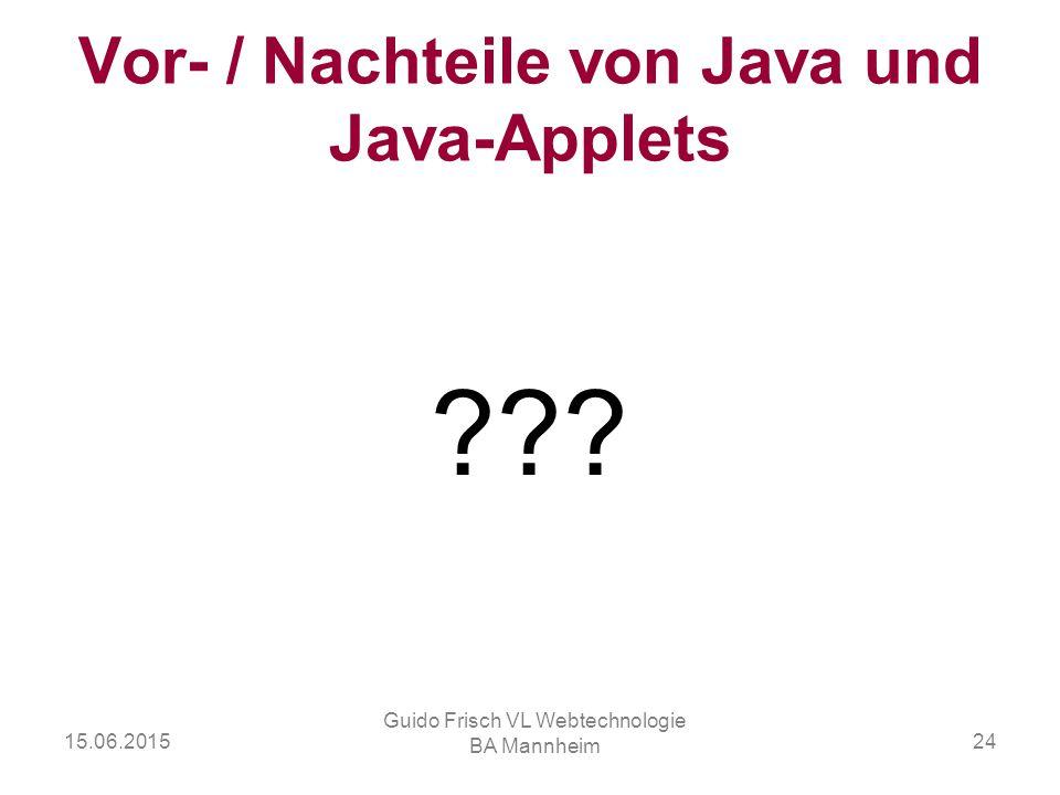 Vor- / Nachteile von Java und Java-Applets