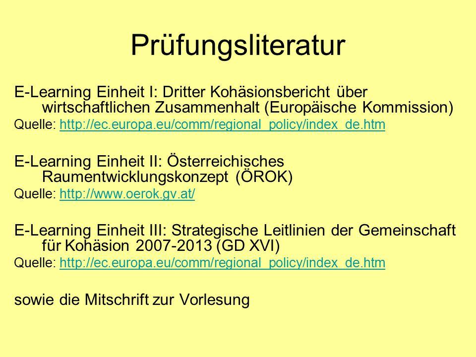 Prüfungsliteratur E-Learning Einheit I: Dritter Kohäsionsbericht über wirtschaftlichen Zusammenhalt (Europäische Kommission)