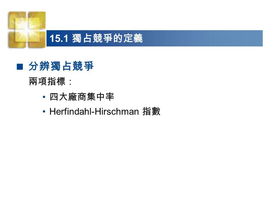 15.1 獨占競爭的定義 分辨獨占競爭 兩項指標: 四大廠商集中率 Herfindahl-Hirschman 指數