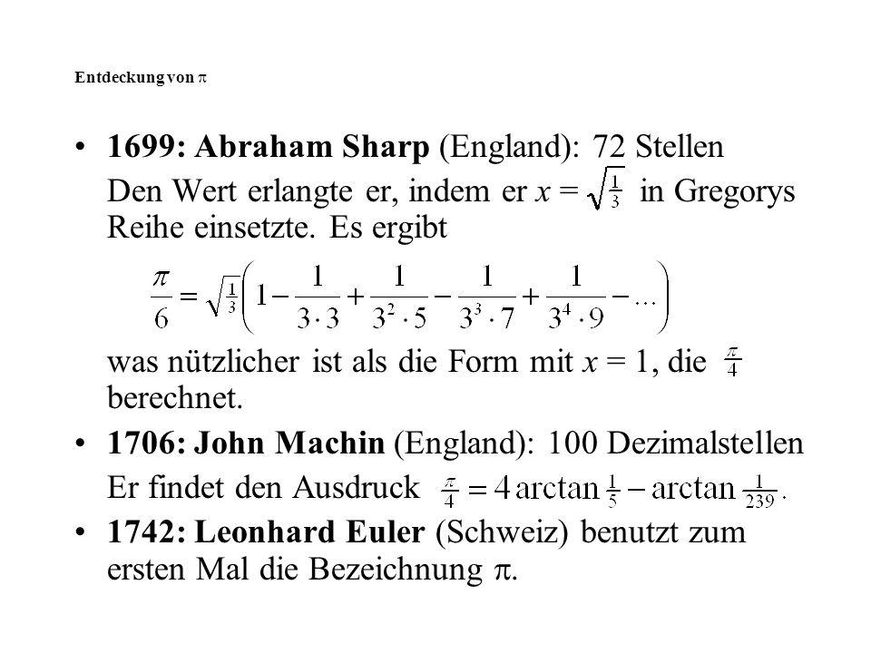 1699: Abraham Sharp (England): 72 Stellen