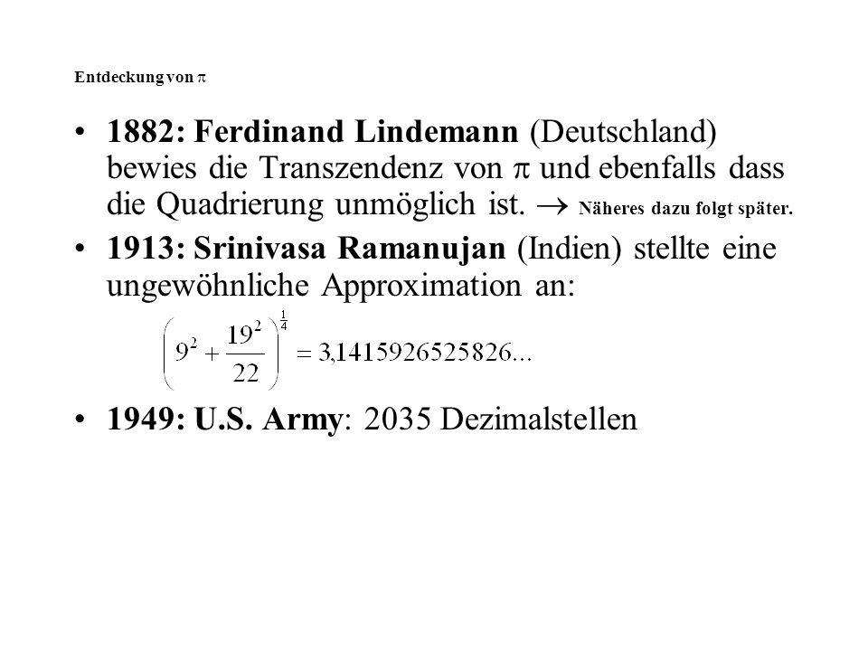 1949: U.S. Army: 2035 Dezimalstellen