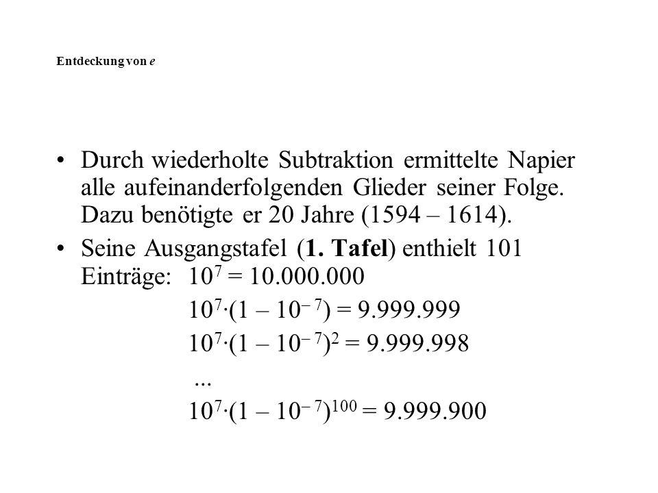 Seine Ausgangstafel (1. Tafel) enthielt 101 Einträge: 107 = 10.000.000
