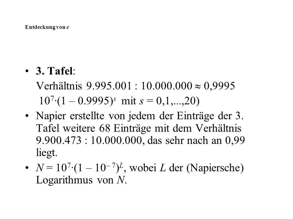 N = 107·(1 – 10– 7)L, wobei L der (Napiersche) Logarithmus von N.