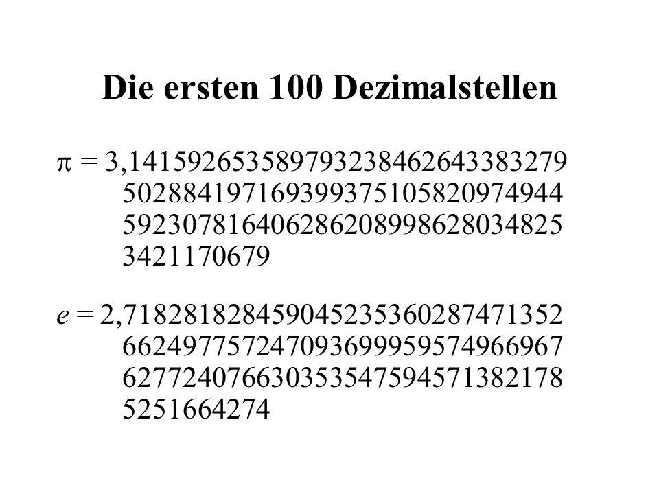 Die ersten 100 Dezimalstellen