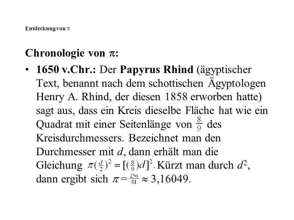 Entdeckung von  Chronologie von :
