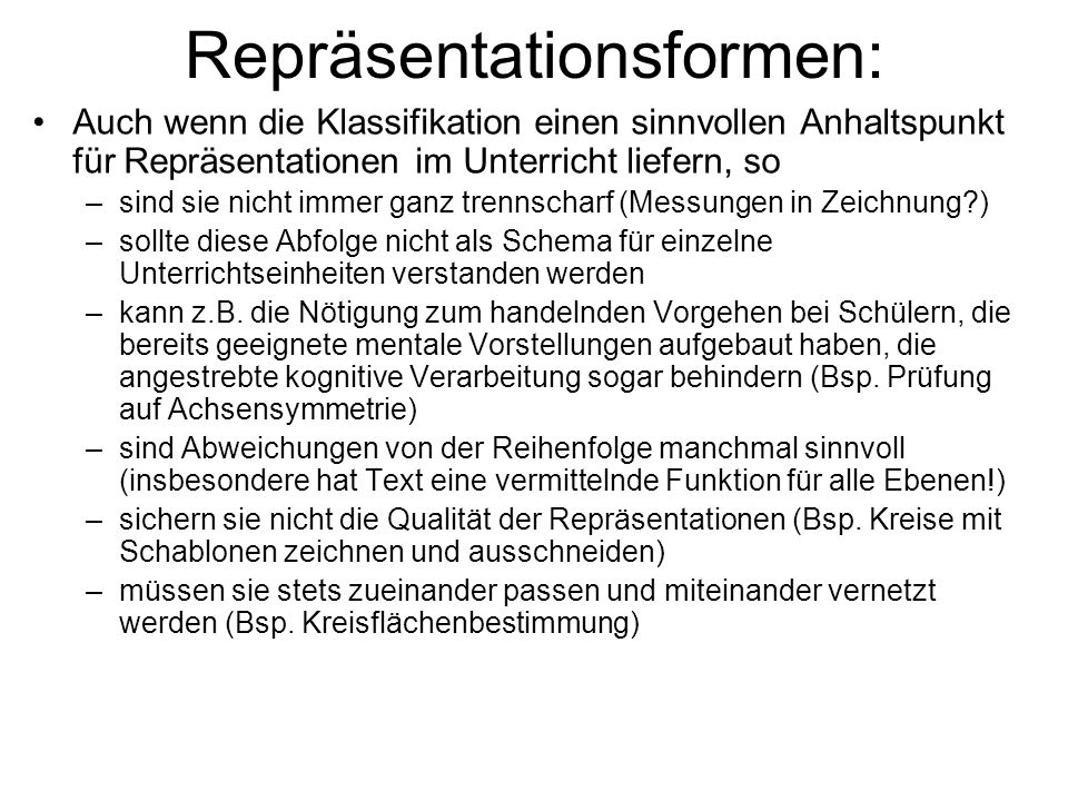 Repräsentationsformen: