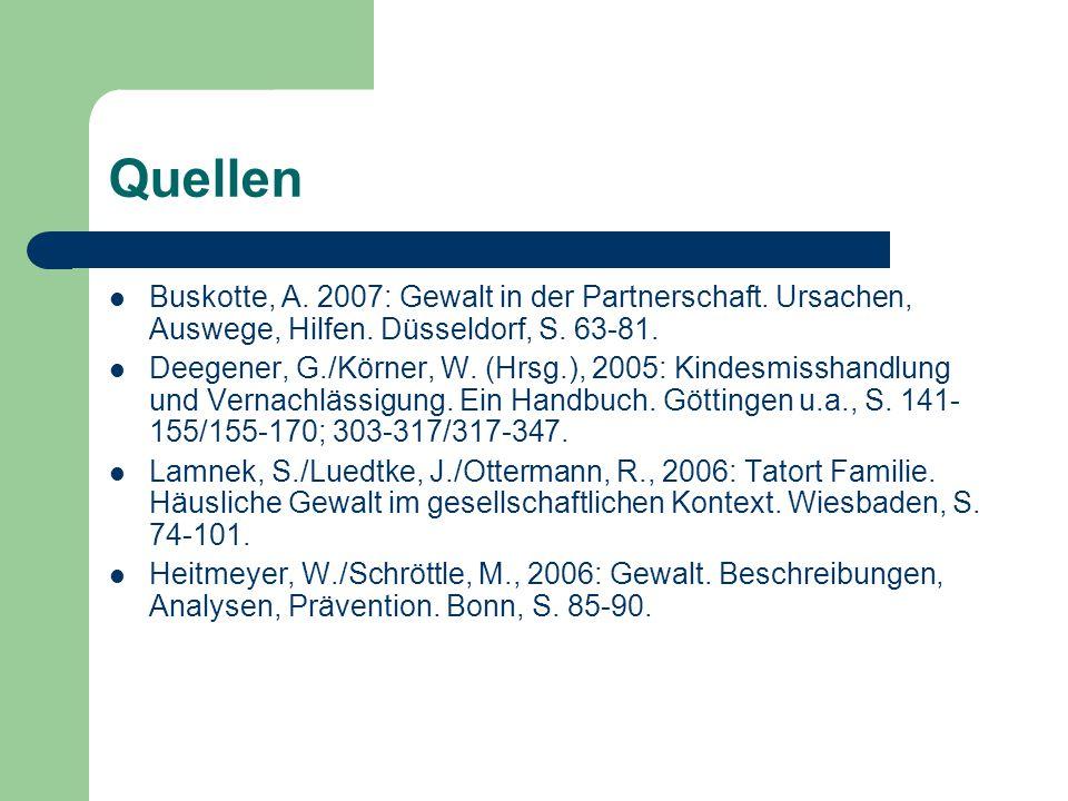 Quellen Buskotte, A. 2007: Gewalt in der Partnerschaft. Ursachen, Auswege, Hilfen. Düsseldorf, S. 63-81.