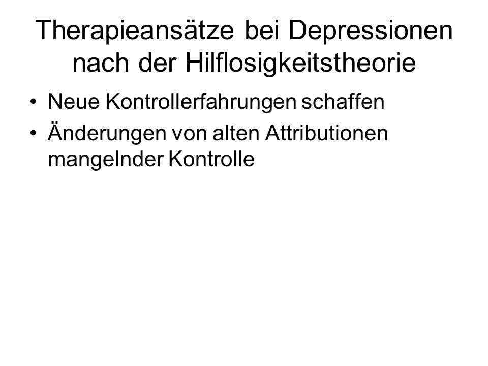 Therapieansätze bei Depressionen nach der Hilflosigkeitstheorie