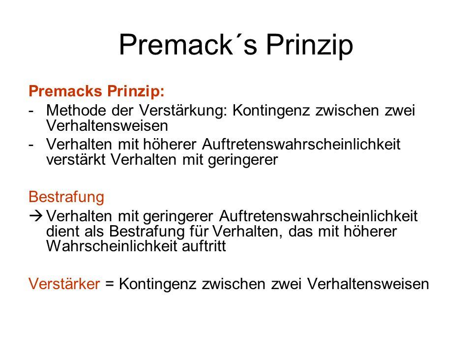 Premack´s Prinzip Premacks Prinzip:
