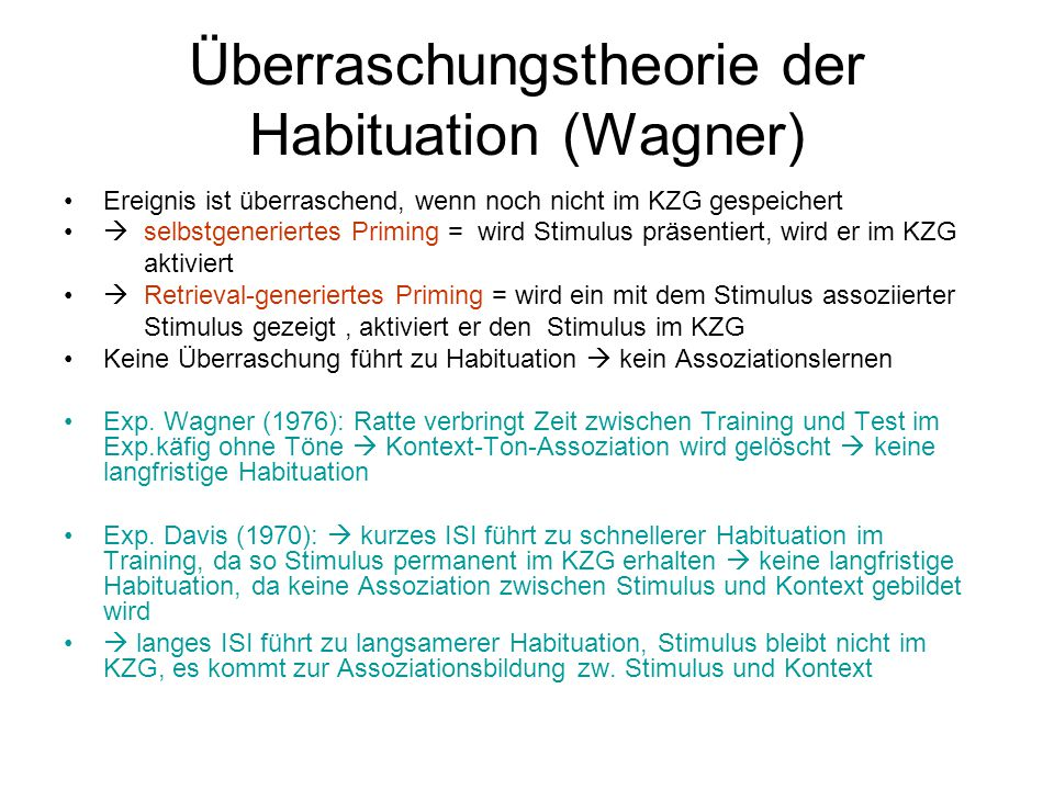 Überraschungstheorie der Habituation (Wagner)