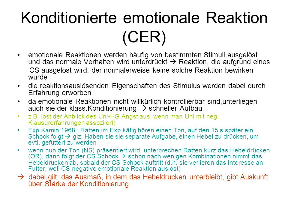 Konditionierte emotionale Reaktion (CER)