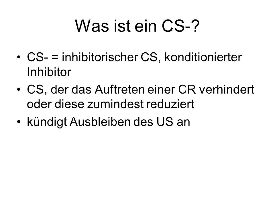 Was ist ein CS- CS- = inhibitorischer CS, konditionierter Inhibitor
