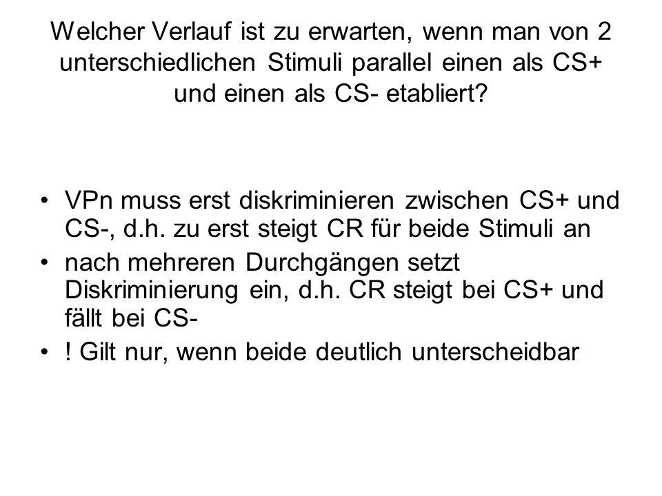 Welcher Verlauf ist zu erwarten, wenn man von 2 unterschiedlichen Stimuli parallel einen als CS+ und einen als CS- etabliert